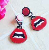 Laser Cut Open Lips Drop Earrings - Cobalt Heights