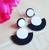 Black & White Laser Cut Drop Earrings - Cobalt Heights