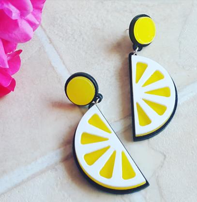 Laser Cut Lemon Drop Earrings