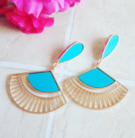 Blue Fan Drop Earrings - Cobalt Heights