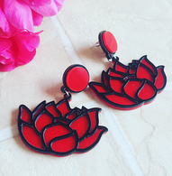 Laser Cut Red Lotus Drop Earrings - Cobalt Heights