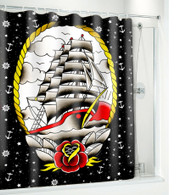 Sourpuss Clipper Ship Shower Curtain - Cobalt Heights