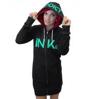 InkAddict Black and Mint Zip Hoodie Dress - Cobalt Heights