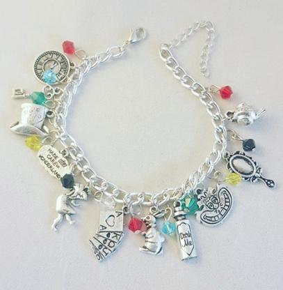 Deluxe Alice In Wonderland Inspired Charm Bracelet - Cobalt Heights