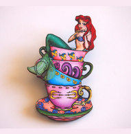 Hungry Designs Teacup Ariel Brooch - Cobalt Heights