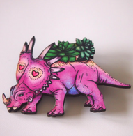 Hungry Designs Triceratops Succulent Planter Brooch - Cobalt Heights