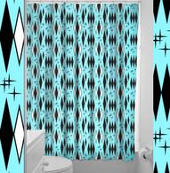 Sourpuss Retro Diamonds Shower Curtain - Cobalt Heights