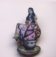 Hungry Designs Teacup Corpse Bride Emily Brooch - Cobalt Heights
