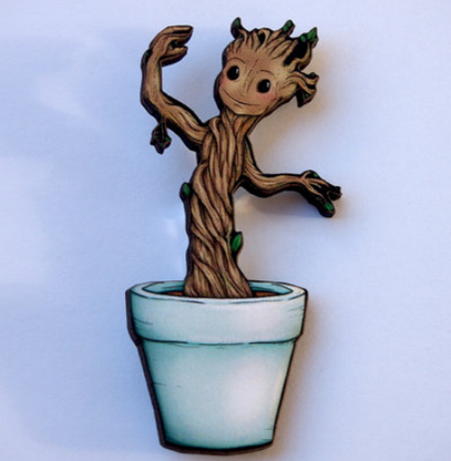 Hungry Designs Baby Groot In Pot Brooch - Cobalt Heights