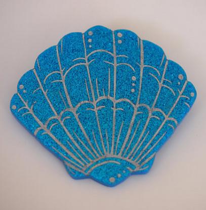 Hungry Designs Blue Mermaid Shell Brooch - Cobalt Heights