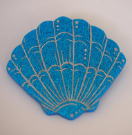 Hungry Designs Blue Mermaid Shell Brooch - Cobalt Heights