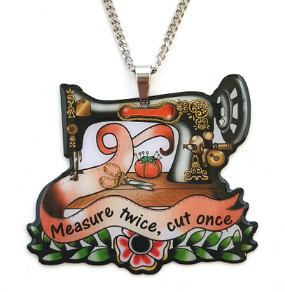 Jubly Umph Measure Twice Sewing Machine Necklace - Cobalt Heights