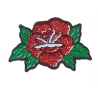 Sourpuss Glitter Rose Lapel Pin - Cobalt Heights