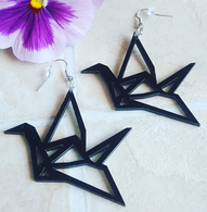 Black Paper Crane Drop Earrings - Cobalt Heights