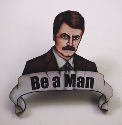 Hungry Designs Be A Man Brooch - Cobalt Heights