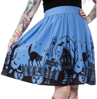 Sourpuss Haunted House Skirt - Cobalt Heights