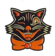 Sourpuss Orange Cat Lapel Pin - Cobalt Heights