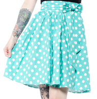 Sourpuss Aqua Polka Dot Swing Skirt - Cobalt Heights