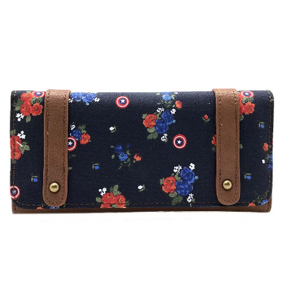 Loungefly X Marvel Captain America Floral Wallet - Cobalt Heights