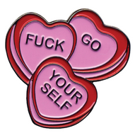 Sourpuss Candy Hearts Lapel Pin - Cobalt Heights