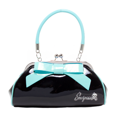 Sourpuss Floozy Purse - Black and Teal - Cobalt Heights