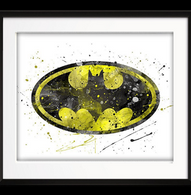 Watercolour Inspired Batman Logo Print - Cobalt Heights