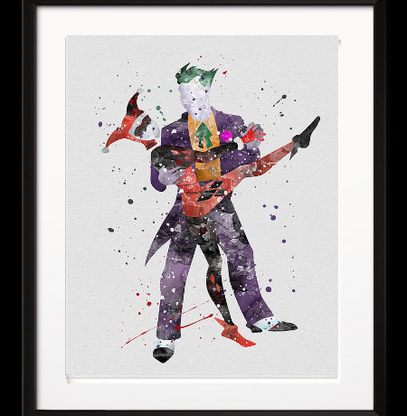 Watercolour Inspired Harley and Joker Print - Cobalt Heights