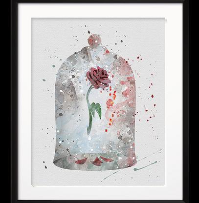 Watercolour Inspired Rose Jar Print - Cobalt Heights