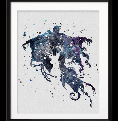 Watercolour Inspired Dementor and Patronus Print - Cobalt Heights
