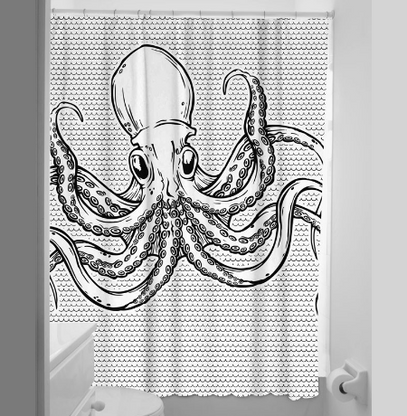 Sourpuss Octopus Shower Curtain - Cobalt Heights