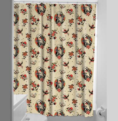 Sourpuss Lost Love Shower Curtain - Cobalt Heights