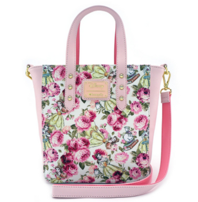 Loungefly X Disney Floral Belle Mini Tote Handbag - Cobalt Heights