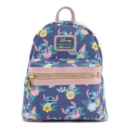 Loungefly X Disney Stitch and Scrump Floral Mini Backpack - Cobalt Heights