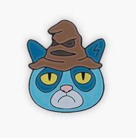 The Sunday Co Grumpy Sorting Cat Enamel Pin - Cobalt Heights