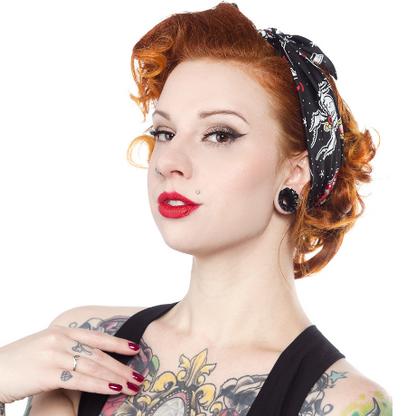 Sourpuss Rosie Friday The 13th Headscarf - Cobalt Heights