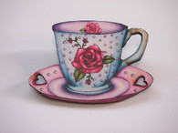 Hungry Designs Rose Teacup Brooch - Cobalt Heights