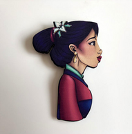 Hungry Designs Mulan Profile Brooch - Cobalt Heights