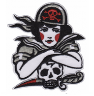 Sourpuss Pirate Gal Iron On Patch - Cobalt Heights