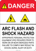 Danger Arc Flash and Shock Hazard - (PPE) statement #53-321 thru 70-321