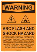 Warning Arc Flash and Shock Hazard, #53-521 thru 70-521