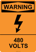 Warning 480 Volts, #53-619 thru 70-619
