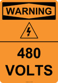 Warning 480 Volts, #53-624 thru 70-624