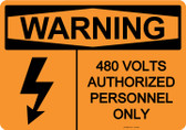 Warning 480 Volts, #53-629 thru 70-629