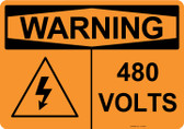 Warning 480 Volts, #53-634 thru 70-634