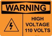 Warning High Voltage 110 Volts, #53-636 thru 70-636