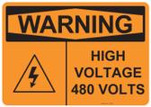 Warning High Voltage 480 Volts, #53-639 thru 70-639