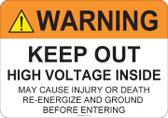 Warning Keep Out High Voltage Inside #53-712 thru 70-712