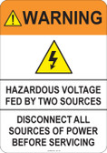 Warning Hazardous Voltage #53-722 thru 70-722