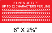 "CUSTOM LABEL- 6"" x 2.625"" - 1/4"" Letters - Item #03-706"