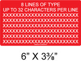 "CUSTOM LABEL- 6"" x 3.375"" - 1/4"" Letters - Item #03-708"